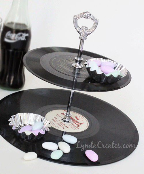 DIY Tiered vinyl record display
