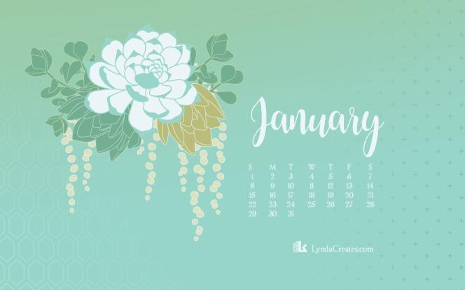 January 2017 Succulent desktop calendar