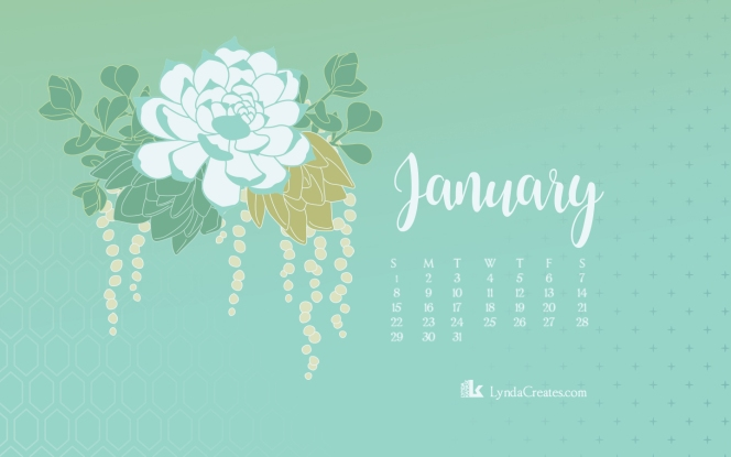 January 2017 Succulent desktop calendar